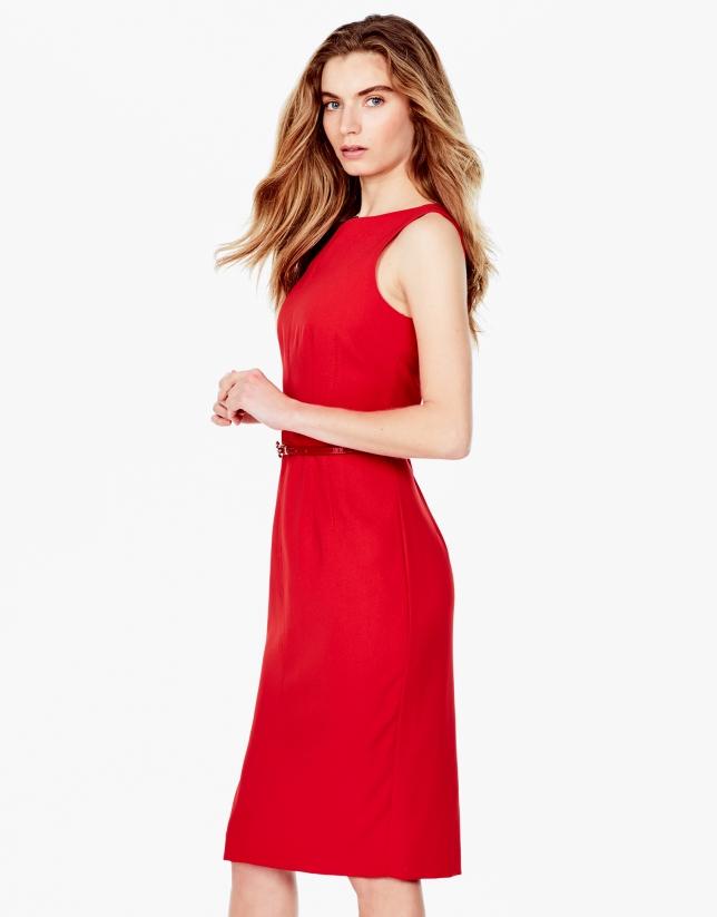 Vestido pespuntes rojo