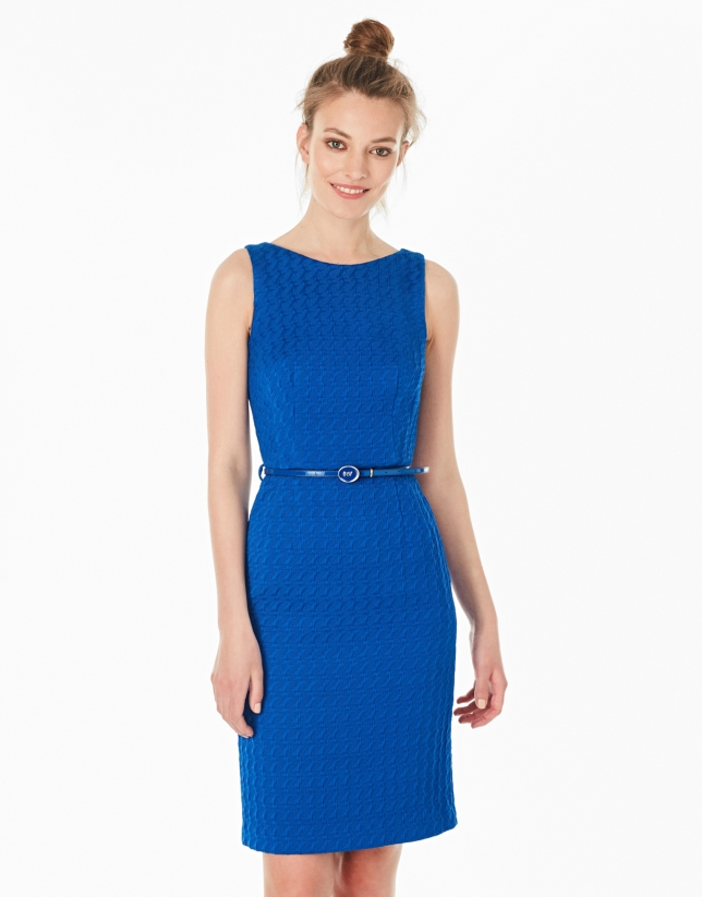Blue jacquard dress