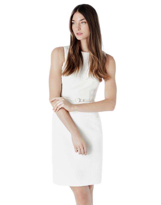 Vestido jacquard marfil