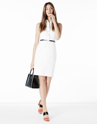 White fitted shirtwaist dress