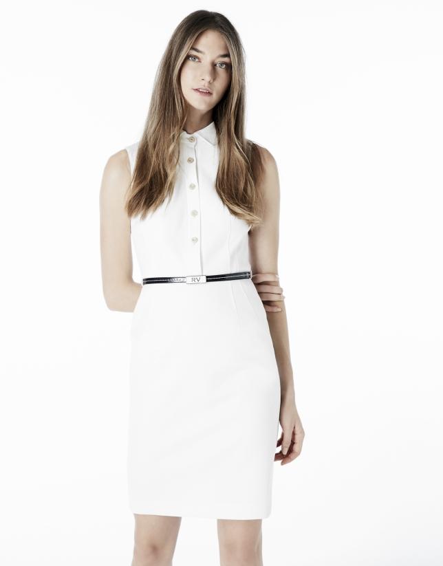 Vestido camisero blanco entallado