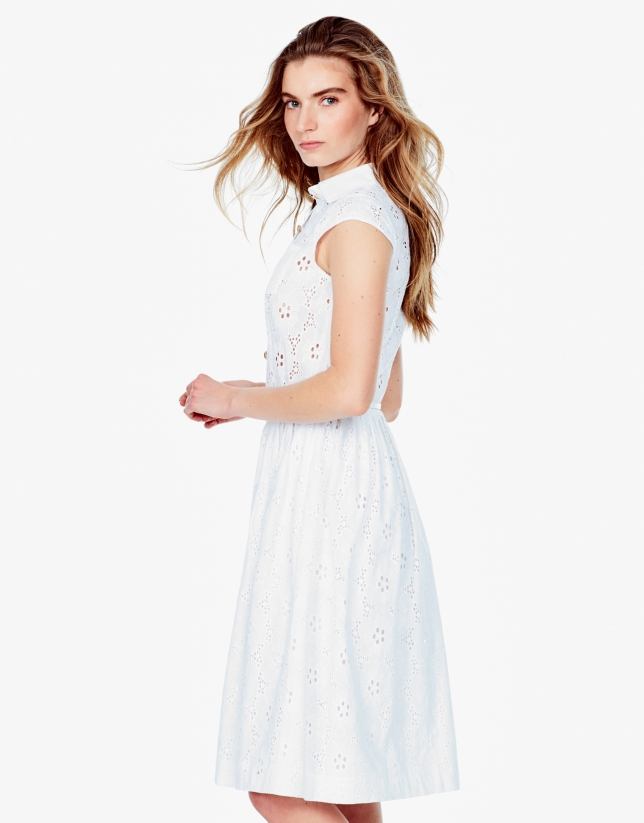 White shirtwaist dress