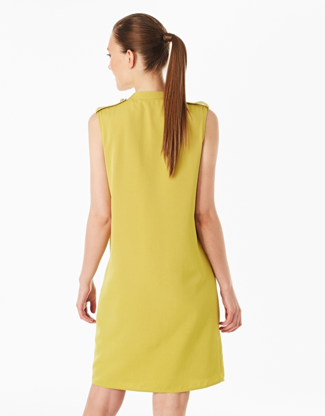 Pistachio green dress with belt loops