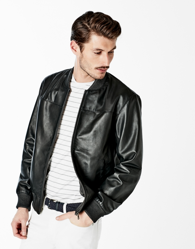 bomber en cuir noir collection roberto verino