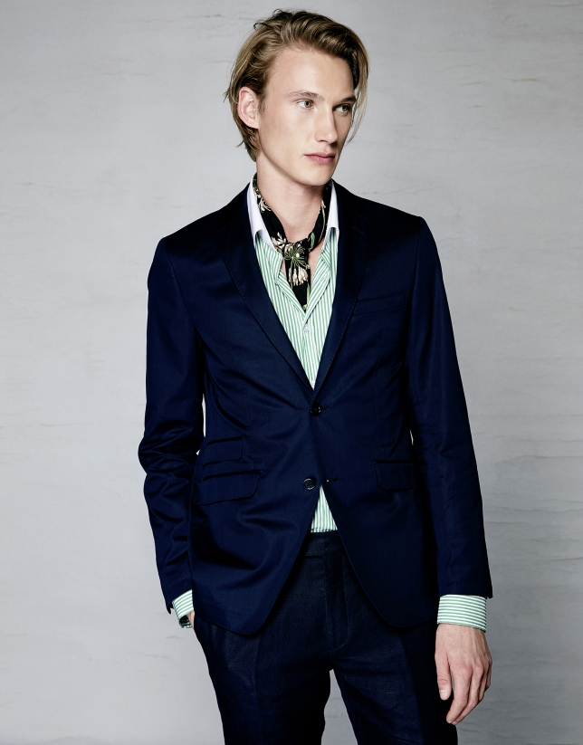 Navy blue linen suit