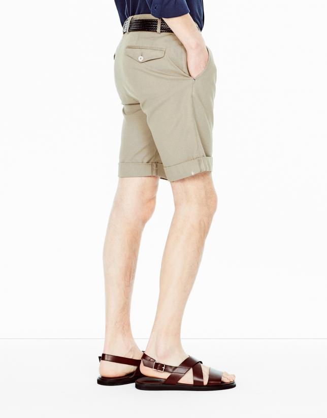 Beige cotton bermudas shorts