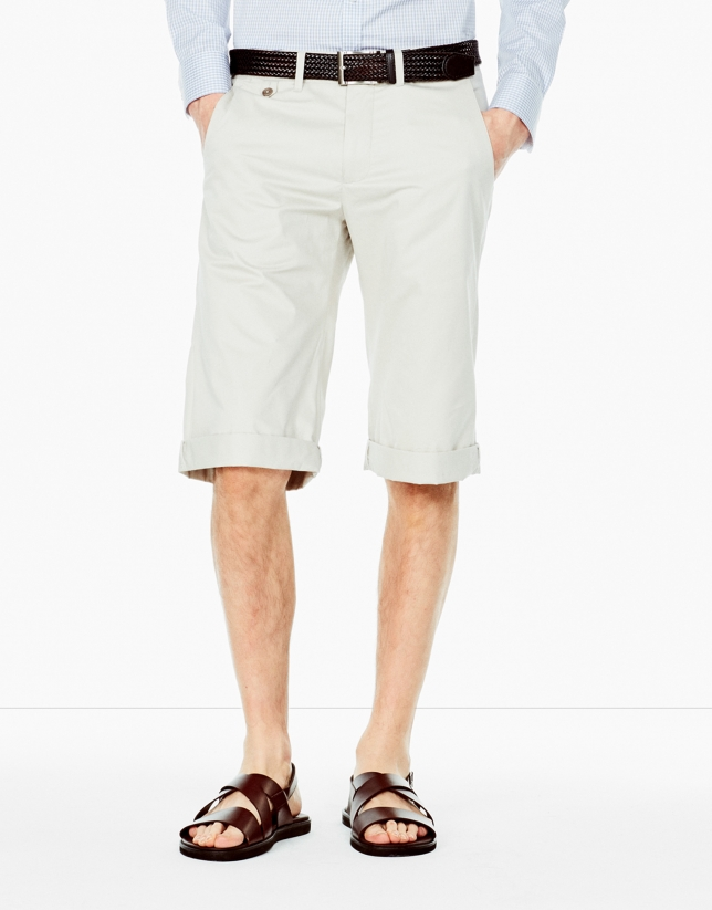 Stone-colored cotton long bermuda shorts