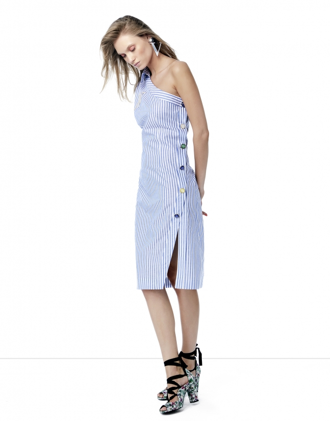 Blue and white striped asymmetric shirtwaist dress