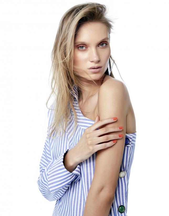 Robe chemisier asymétrique à rayures en bleu et blanc