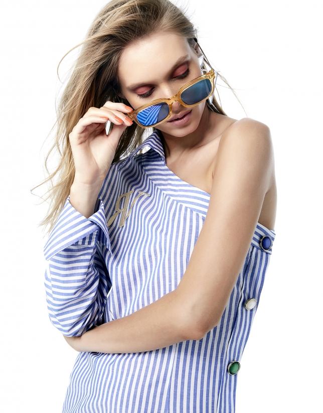Vestido camisero asimétrico rayas azul y blanco