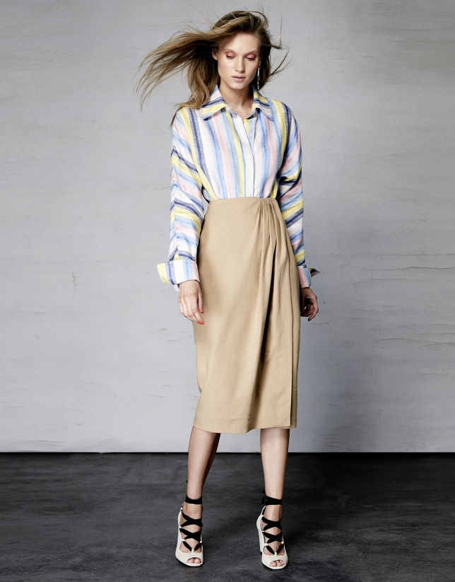 Camel mid-length wrap skirt