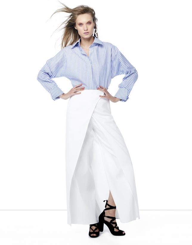 Falda pantalón lino blanca