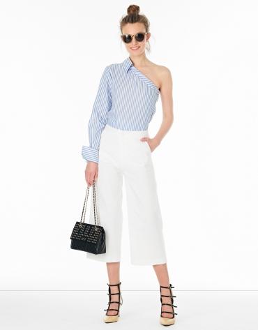 Pantalón coulotte lino blanco