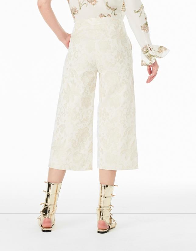 Beige jacquard culottes