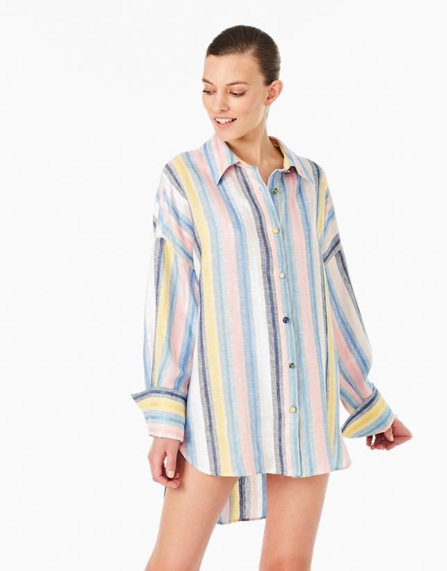 Multicolor striped linen shirt