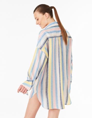 Camisa lino rayas multicolor