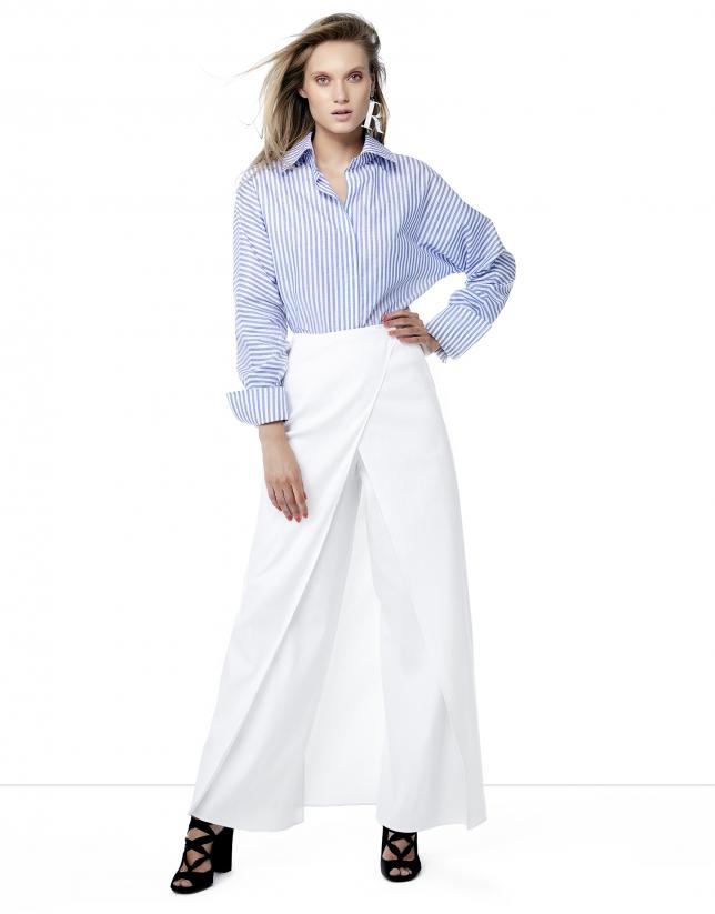 Chemise à rayures en bleu et blanc