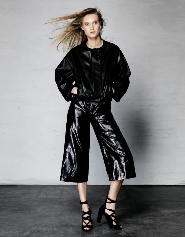 Black leather windbreaker