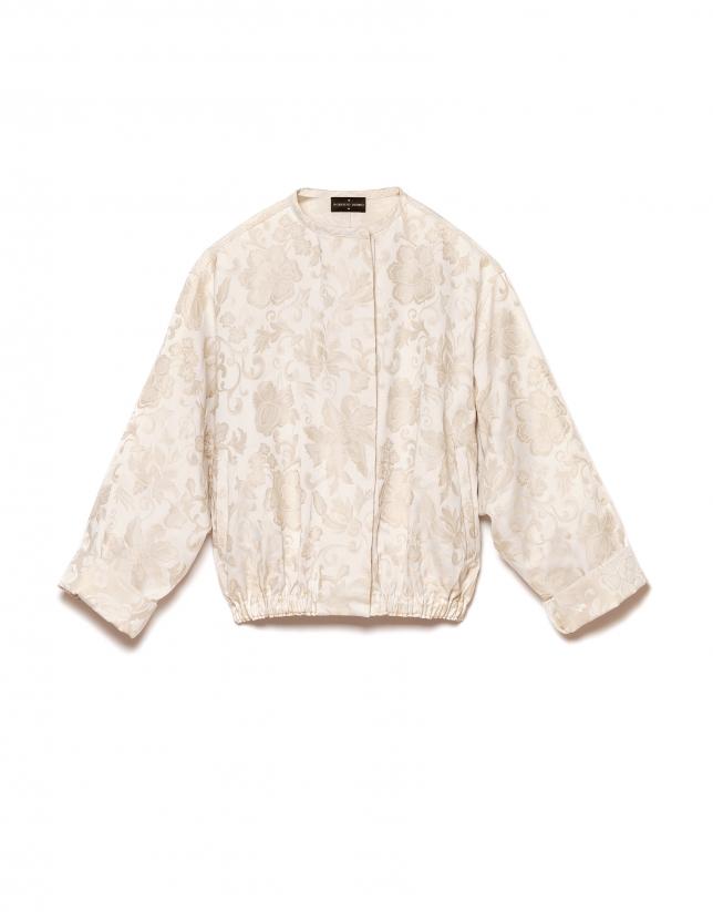 Beige jacquard bomber jacket