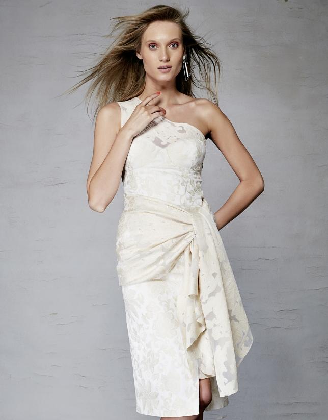 Beige floral fil coupé brocade asymmetric dress