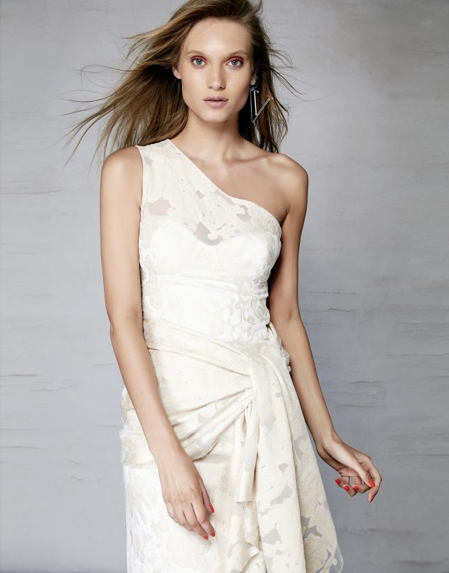 Robe asymétrique brocart de fil coupé beige à fleurs