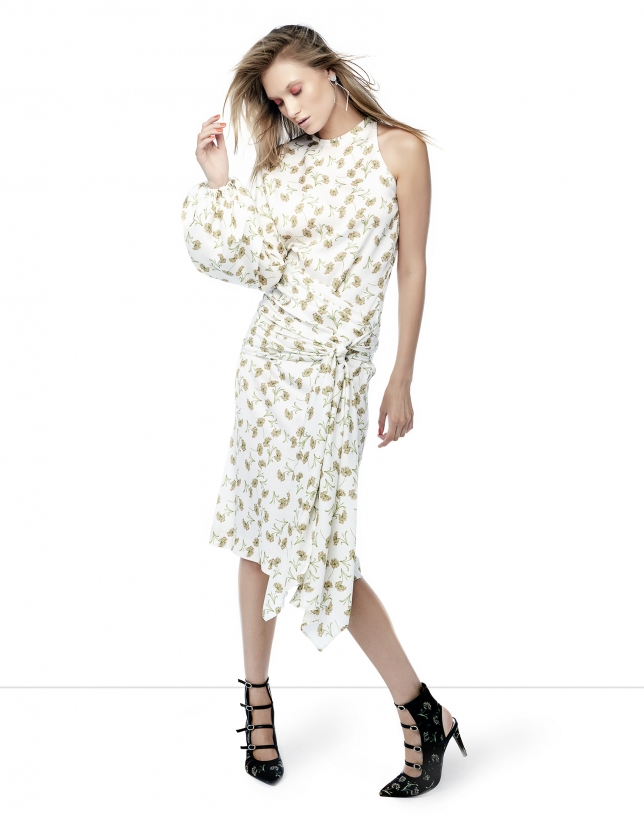 Ivory floral print asymmetric dress