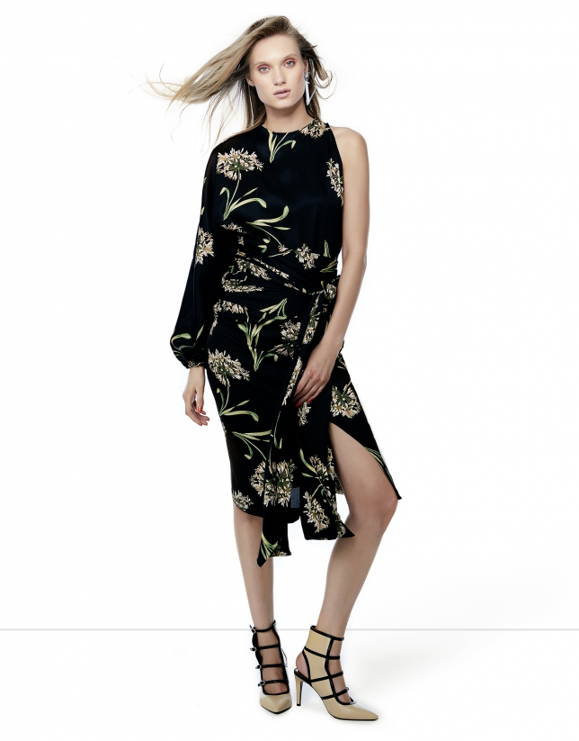 Black floral print asymmetric dress