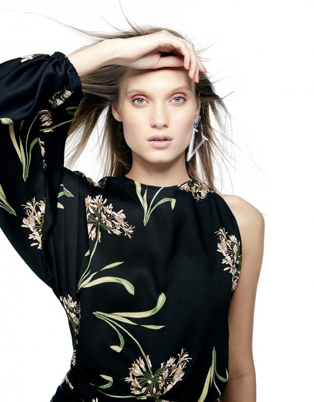 Black floral print asymmetric dress