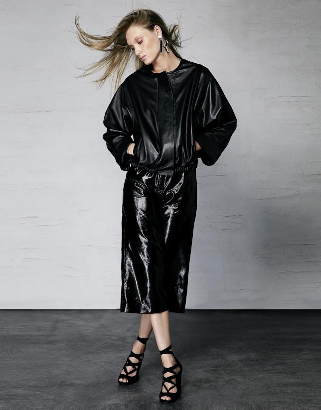 Jupe-culotte métallisée noire