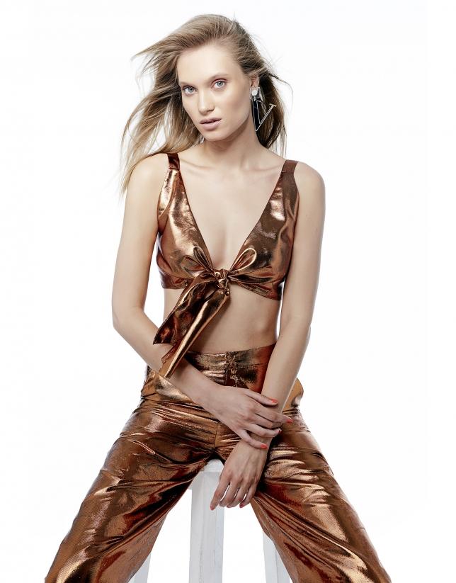Jupe-culotte métallisée cuivre