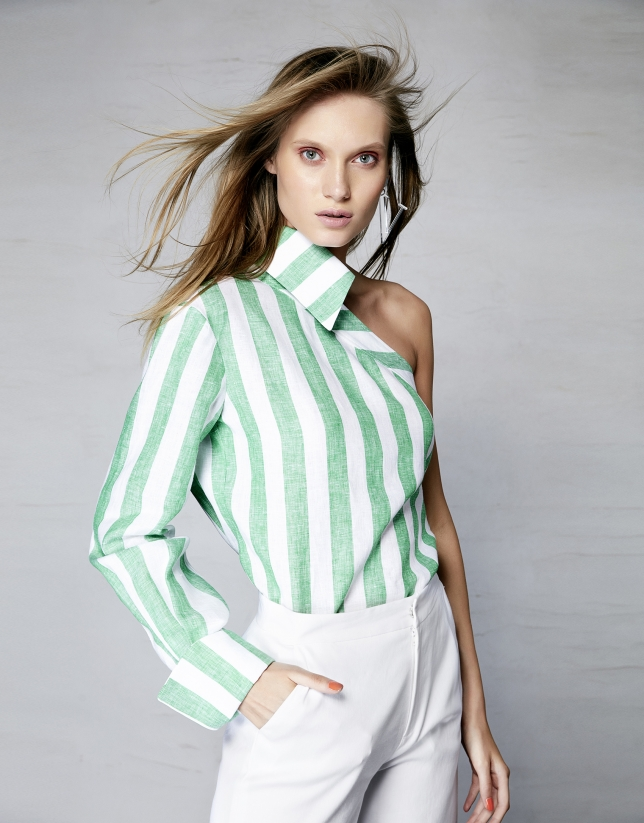 Striped asymmetric linen shirt