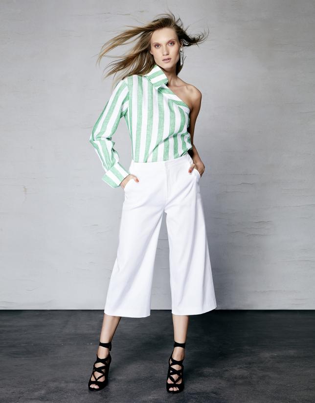 Camisa asimétrica lino rayas