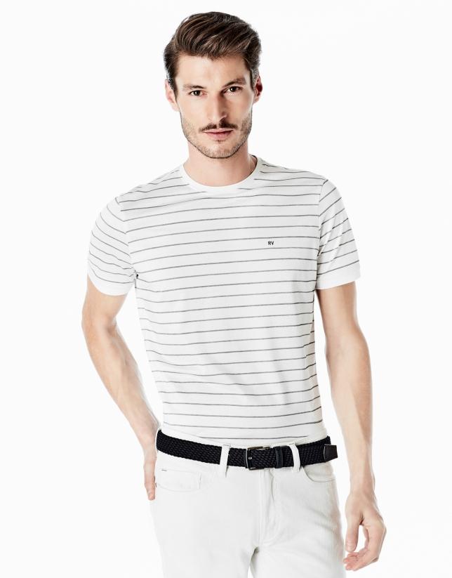 Camiseta blanca rayas marino