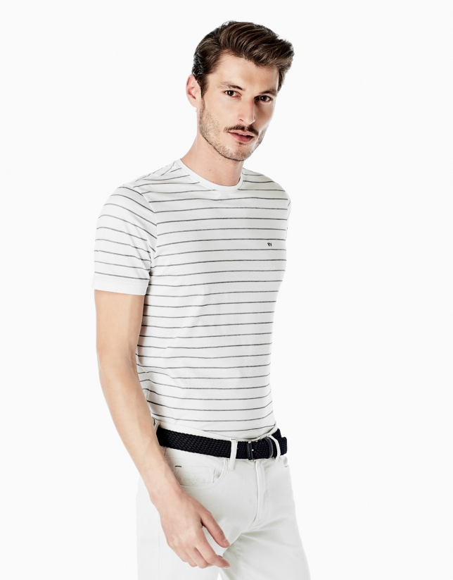 White and navy blue white striped top
