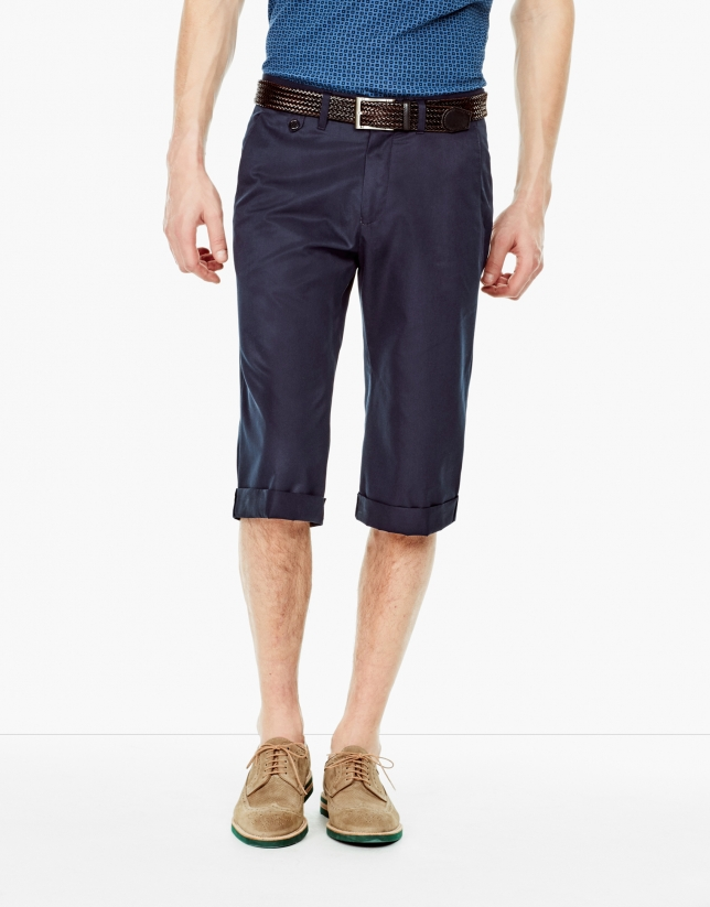 Blue cotton long bermuda shorts