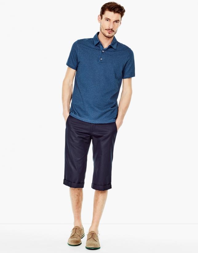 Bermuda long bleu en coton
