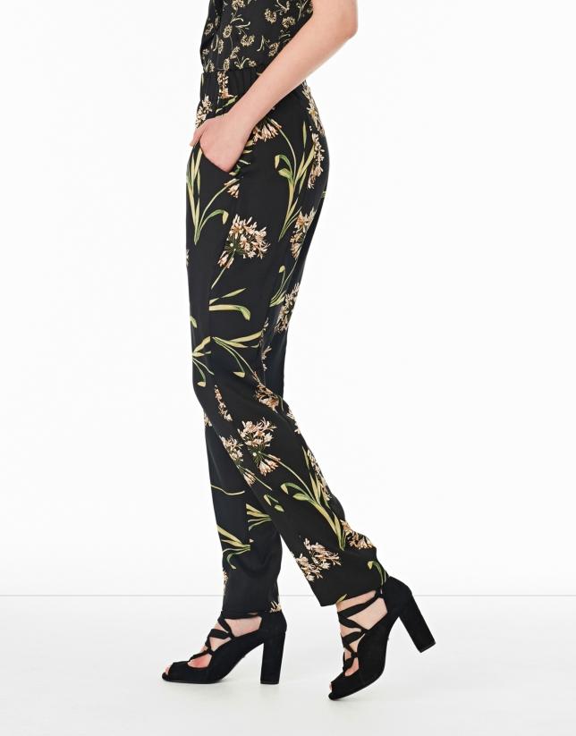 Floral print flowing pants