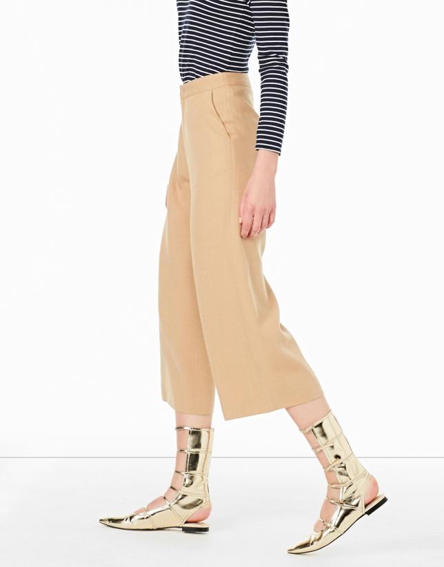 Jupe-culotte noisette à poches