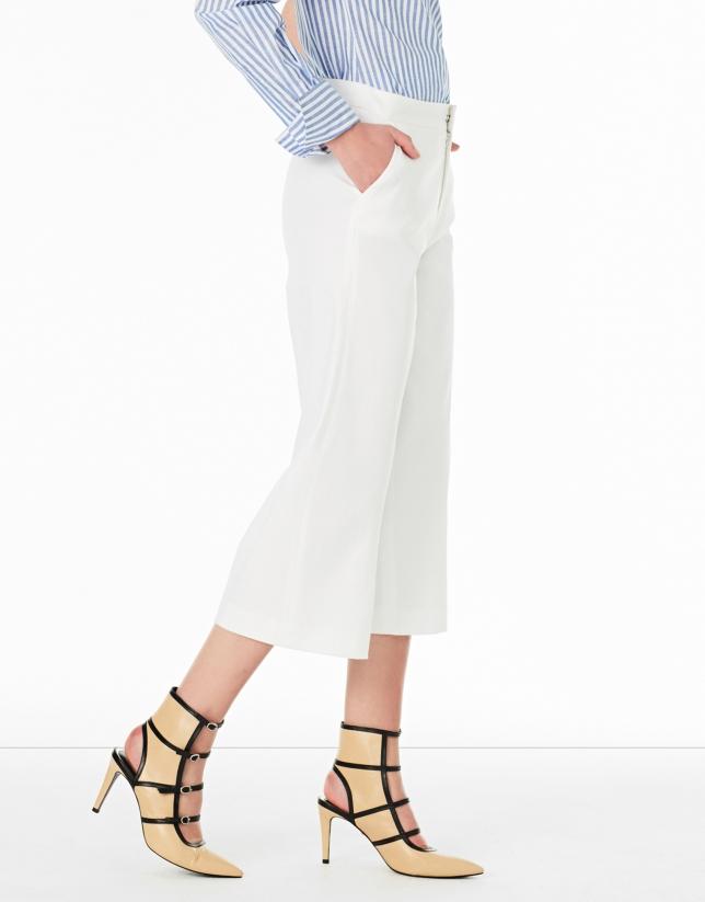 Jupe-culotte blanche à poches