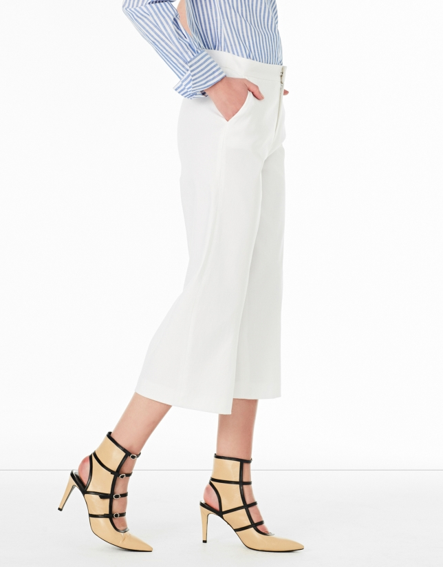 White culottes with pockets