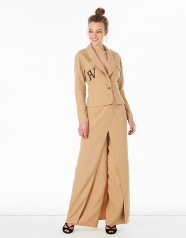 Hazelnut long wrap-around skirt