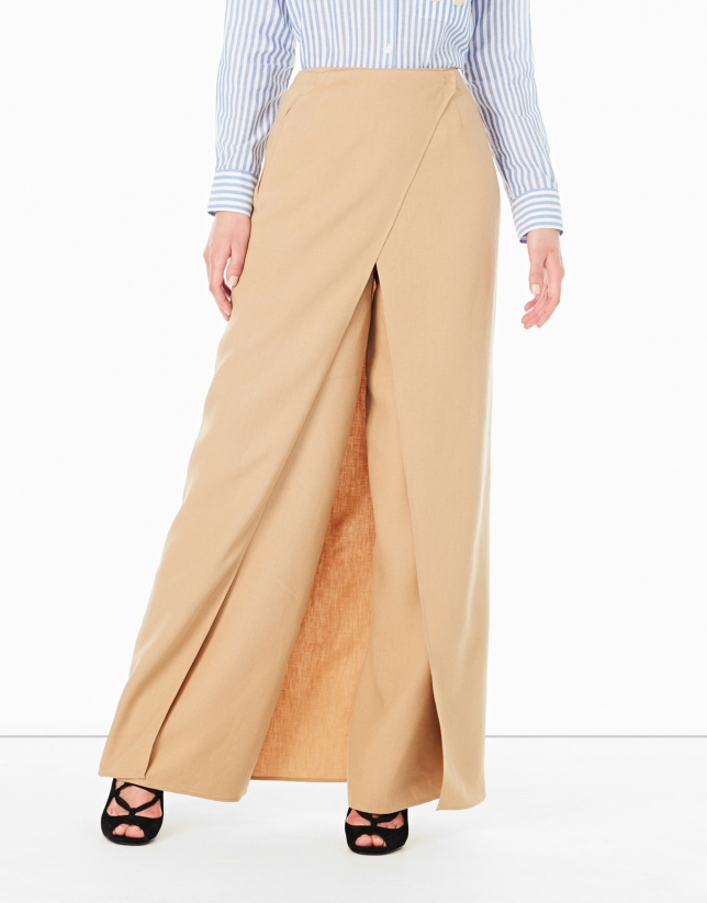 Hazelnut long wrap-around skirt