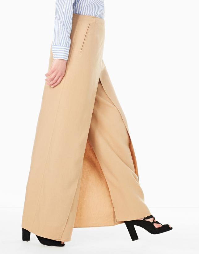 Falda larga cruzada avellana