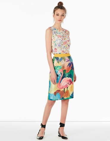 Flamingo print jacquard skirt