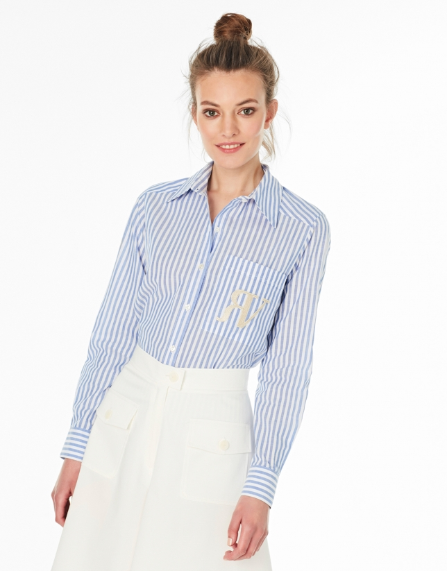 Blue and white striped shirt with pocket