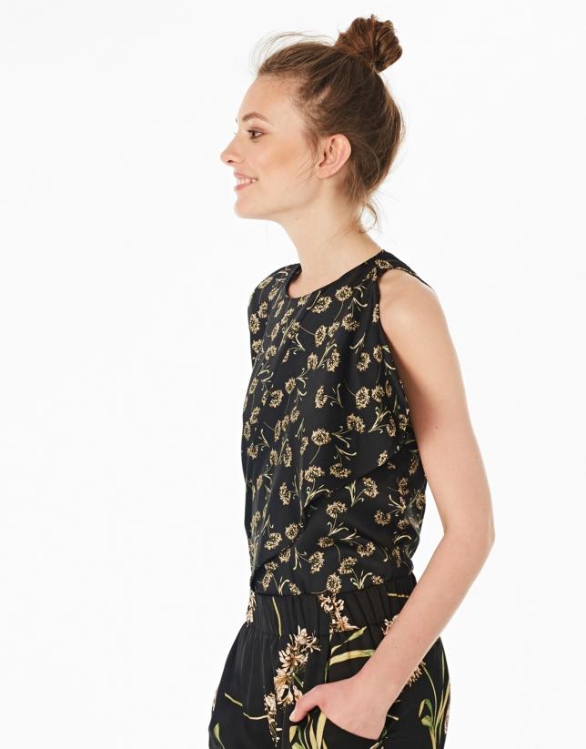 Black floral print asymmetric blouse