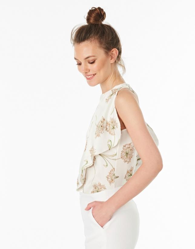 Beige floral print asymmetric blouse