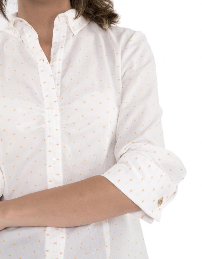 Camisa pliegue topos dorados