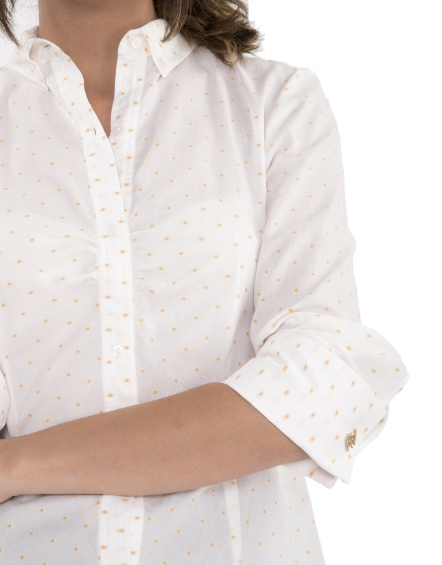 Gold dotted print shirt with folds