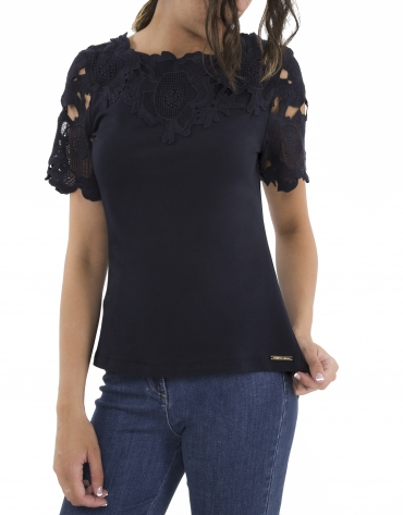 T-shirt blue en dentelle